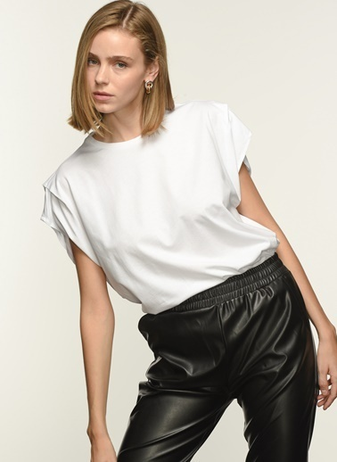 NGSTYLE Ngkss21Ts0052 Kol Detaylı Tshirt Beyaz